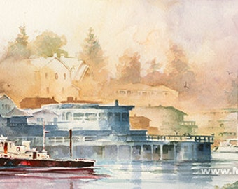 La Conner Washington Waterfront Watercolor Painting. Puget Sound. Northwest Watercolor Art. Boat. Dock. Town on the Water. Blue. Magenta.