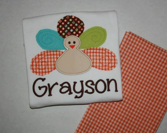 Raggy Turkey applique shirt/outfit