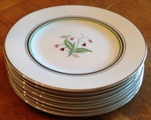 """Syracuse China Old Ivory """"Coralbel"""" Pink and Green Floral Set of Four Salad Plates, Platinum Trim Plates, Syracuse China Plates"""