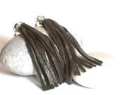 Leather Tassel Earrings, Black, Tassel Earrings, Surgical Steel, Fringe Earrings, Dangle Earrings, Fabric Earrings