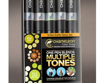 Chameleon Color Tones Alcohol Markers 5 pc. Earth Tones Set    NO SHIPPING to the UK