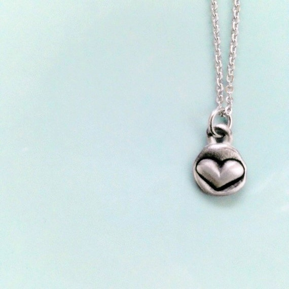Tiny heart charm necklace pewter jewelry lovely gift for Jewelry for mom for christmas