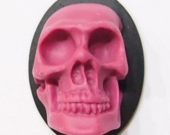 4 of 40x30 mm Purple over Black 3-D Large Skull Head Cameos, Steampunk, Gothic Great for Pendants
