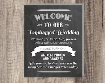Instant Download UNPLUGGED Wedding print - No Cameras No Cell Phones - 8x10 digital print