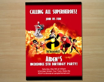 The Incredibles Birthday Invitation - Digital File (Printing Services Available)