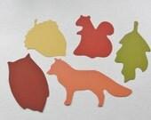 Fall Decorations, Autumn Decor, Fall Place Cards, Card stock Fox Leaf Acorn Squirrel Owl Die Cut Cutouts Scrapbook Wish Tags Set of 25