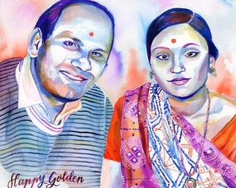 INDIAN 50 WEDDING ANNIVERSARY parents portrait special - Watercolor custom painting gift for parents gift for grandparents 25 50 anniversary