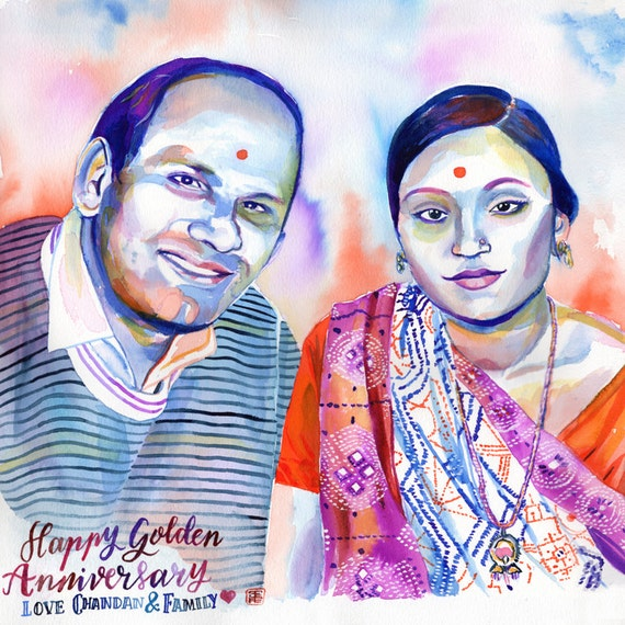 Indian Wedding Gifts For Parents : INDIAN 50 WEDDING ANNIVERSARY parents giftWatercolor couple ...