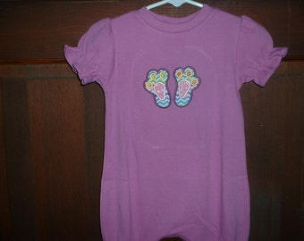 Orchid Appliqued Bubble--Size 9 months--Bunny Paws--Easter