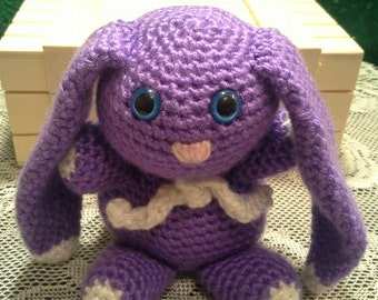 Crocheted Bunny - Purple with White Accents