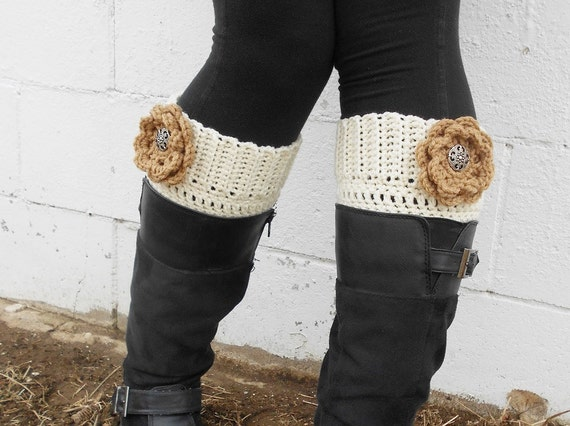 Ivory Boot Cuff with Three Interchangeable Flowers in Your Choice of Colors - Crocheted Cream Boot Socks with Flowers