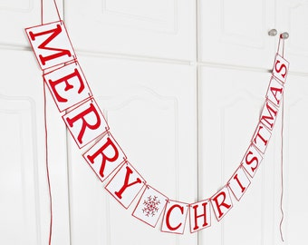 FREE SHIPPING, Merry Christmas banner, Holiday decoration, Merry Christmas garland, Holiday photo prop, Red and white Christmas, Snowflake
