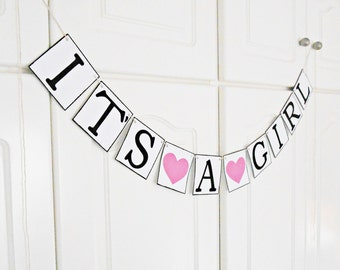 FREE SHIPPING, It's A Girl Banner, Baby shower decorations, Baby gender announcements, Baby photo prop, Gift for mother and baby girl, Pink