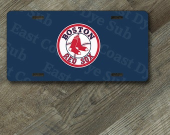 """License Plate Boston Red Sox Design on 6"""" x 12""""  Aluminum License Plate"""