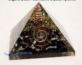 ORGONE BLACK TOURMALINE and Crystal Quartz Point With Gold Leaf Pyramid!