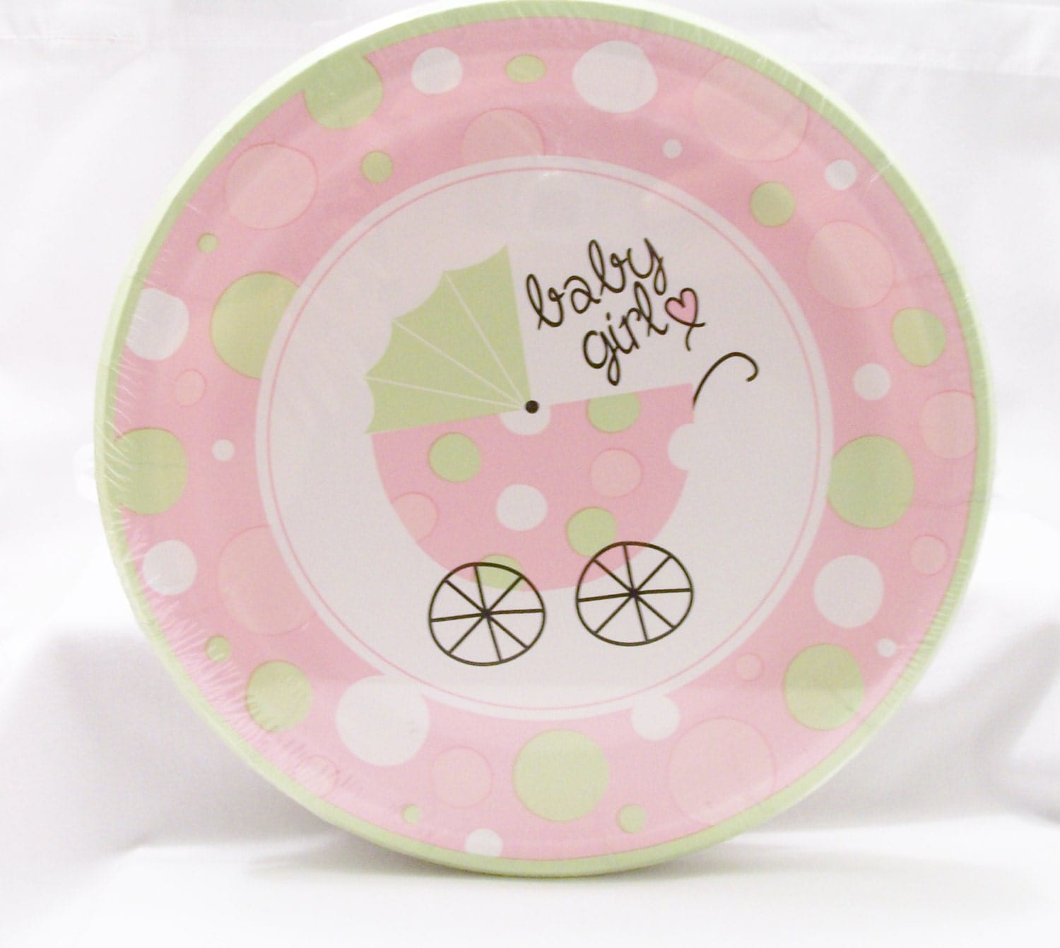 CLEARANCE Set of soft pink and green baby shower paper plates