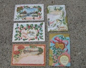 Set of 5 Vintage Christmas Postcards 1909-1912 Victorian GOLD Embossed