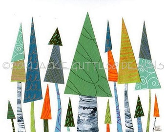 "Colorful tree art collage, 8 x 10"" Giclee print, Whimsical tree painting print, Modern nursery art, Woodland nursery, Forest nursery decor"