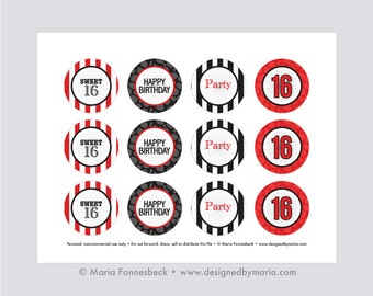 """Sweet 16 Party Cupcake Toppers Printable: 2"""" Party Circles -- Red and Black Party Decoration - Stripes and Giraffe Print"""