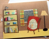 CARD: Rainy Day Reading; Bird Sitting in a Plush Armchair Reading in Her Library