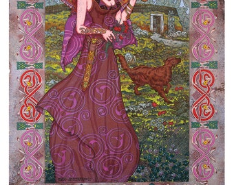 "Celtic Irish Fantasy Art Print MAEVE, Queen of Connaght. 16x11""."