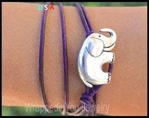 Lucky ELEPHANT Leather Wrap Bracelet - Adjustable Minimalist Double Wrap Leather Bracelet w/ Silver Elephant Button - SIZE / COLOR - Usa 49