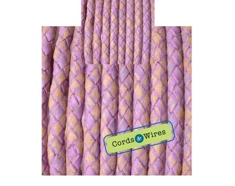 DL05200 - 0.40 meter x 5.00mm Lilac, Vintage effect  Braided Leather Cord