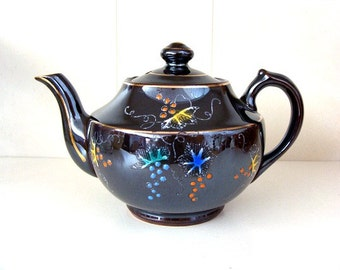 Vintage Red Ware Japanese Tea Pot Brown Raised Enameled