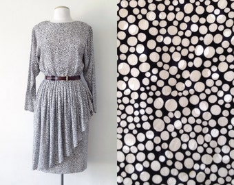 80s silk dress / peplum dress / long sleeve midi dress / 80s fashion / black and white polka dot