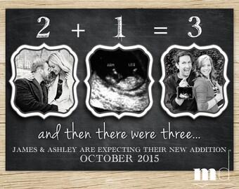 Chalkboard Pregnancy Announcement, Baby Announcement, Facebook Pregnancy Announcement, And Then There Were Three, - PRINTABLE DIGITAL FILE