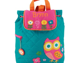 Embroidered Kids Backpack - OWL Quilted Backpack Turquoise and Pink