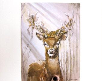 Floral Deer 6x8 Print