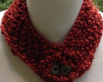 Hand Knit Cowl or Neckwarmer in Red with Vintage Anchor Metal Buttons