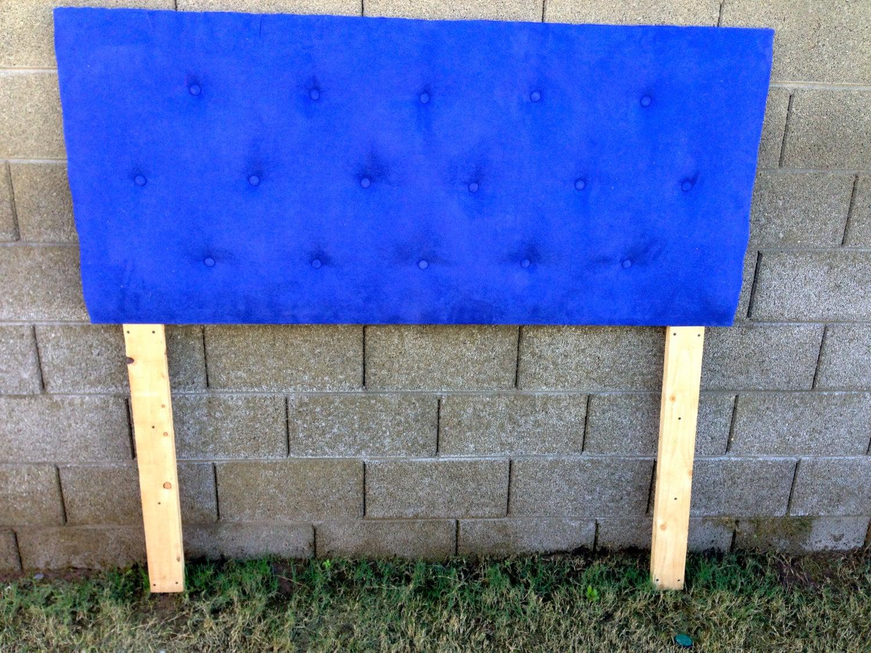 Royal blue suede tuft headboard for Royal headboard