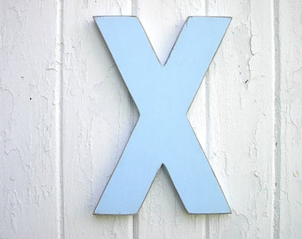 "Wooden Letters X big 12"" Block style letters Painted in Light Blue Nursery Kids Wall Decor Boys Room"