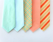 Mint tie for toddlers, boys mint tie, boys peach tie, ring bearer tie, boys wedding tie, boys neck tie, toddler neck tie, baby tie, kids tie