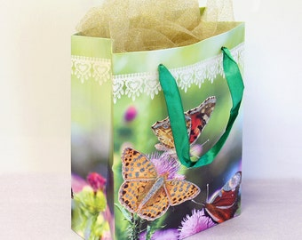 12x Paper Gift Bags w/ Handles,Butterfly, Wedding Shower Birthday Party Supplies