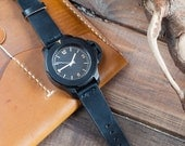 Black Horween Chromexcel Leather Watch Strap 18mm, 20mm, 22mm (Free Shipping)