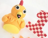 Fondant Cake Topper set - The Chicka Show Cake topper set - 1 qty Chicka bird- 1 qty  Number - 1 qty Sun - Chicka great for a birthday party