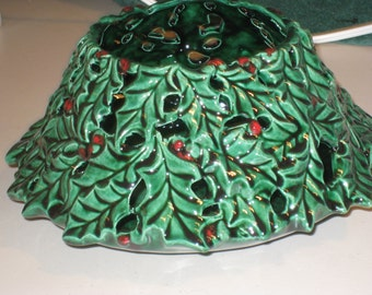 Holly candle holder , Hand painted by Joan Davis