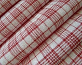 Vintage woven linen flax fabric Red check, gingham, karo in very good condition from 1900s