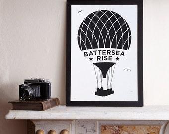 Battersea Rise A3 Screenprint / Battersea Power Station Screenprint, Hot Air Balloon Poster, Graphic Poster, Graphic Art, London Print
