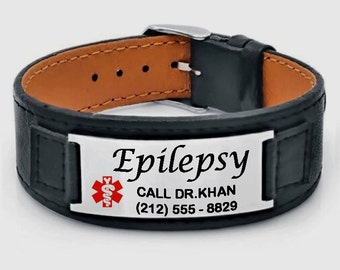 Engraved Stainless Steel and Leather Medical ID Bracelet Personalized Custom FREE Engraving Customized