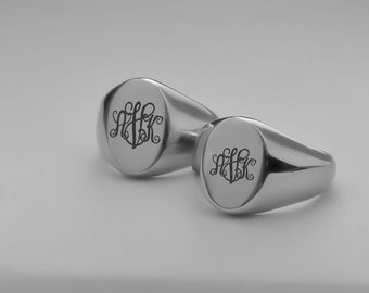 Personalized Stainless Steel Signet Ring - Couple's Ring Set Custom Engraved
