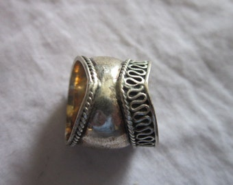 Vintage Sterling Silver Corset Bustier Ring Wow Gotta See