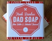 Dad Soap, Fresh Bamboo Charcoal Shea Butter Soap, Sulfate Free, Fathers Day Woodgrain Wrapping