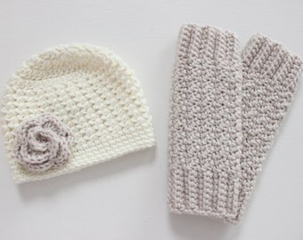 Baby Hat and Leg Warmer Matching Set, Crochet Gift Set (Hat and Leg Warmers for Baby), Crochet Leg Warmers - Ivory and Linen