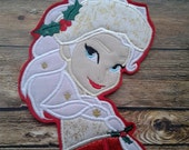 Queen Elsa Christmas Applique ~ Embroidered Frozen Patch ~ No Sew ~ Iron On