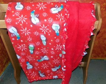 Double Layer Red Snowmen Fleece Blanket with Braided Edges