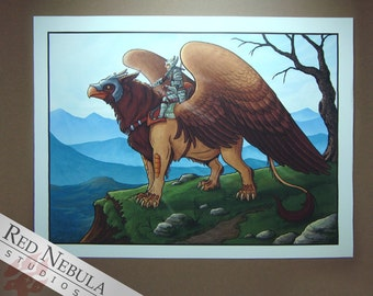 8.5x11 Griffon Rider Print, Griffin Art Print, Greek Mythology, Fantasy Artwork, Gryphon and Rider